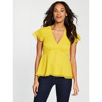 V by Very Tiered V-neck Top, Yellow, Size 12, Women