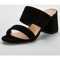 V by Very London Wide Fit 2 Strap Mule - Black, Black, Size 6, Women
