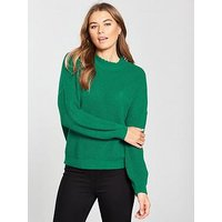V by Very Collar Detail Pleat Sleeve Rib Jumper - Green, Green, Size 12, Women