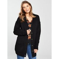 V by Very Oversized Button Through Cardigan, Black, Size 12-14, Women