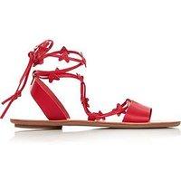 Loeffler Randall Heartla Flat Lace Up Sandals - Red