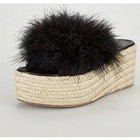 V by Very Gigi Feather Mule Wedge - Black, Black, Size 4, Women