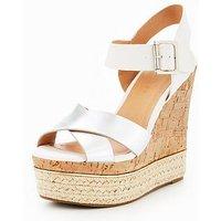 V by Very Tropez Cross Strap Wedge Sandal - White/Silver, White/Silver, Size 6, Women