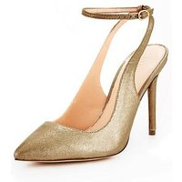 V by Very Rome Open Back Point Court Shoe - Gold, Gold, Size 4, Women