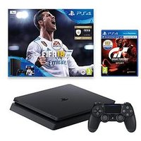 Playstation 4 Slim 1Tb Black Console Bundle With Fifa 18 And Gran Turismo Sport Plus Optional Extra Controller And/Or 12 Months