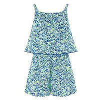 Monsoon Elena Print Playsuit, Lime, Size 5 Years, Women