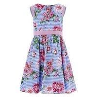 Monsoon Acacia Stripe Dress, Blue, Size 6 Years, Women