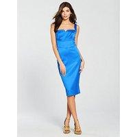 KAREN MILLEN Satin Dress, Blue, Size 6, Women