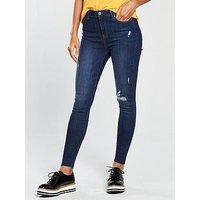 V by Very Ella High Waisted Skinny Jean, Dark Wash, Size 10, Women
