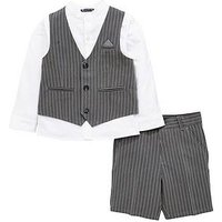 Mini V by Very Boys Striped 3 Piece Occasion Suit, Multi, Size Age: 4-5 Years