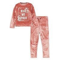 Mini V by Very Girls Velour Crew Neck Jog Set, Multi, Size Age: 9-12 Months, Women