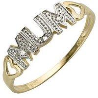 Love GOLD 9 Carat Yellow Gold Diamond - Set Mum Ring, Size O, Women