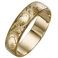 Love GOLD 9 Carat Yellow Gold Patterned Wedding Band 5 mm, Size Y, Women