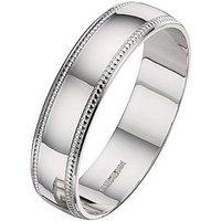 Love GOLD 9ct White Gold Bead Edge 5mm Wedding Band, Size Q, Women