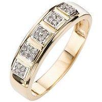 Love DIAMOND 9 Carat Gold 15 Point Diamond Set Band Ring, Size X, Women