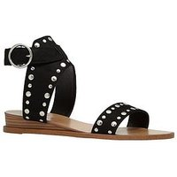 CALL IT SPRING Grieria Flat Sandal - Black, Black Nubuck, Size 6, Women