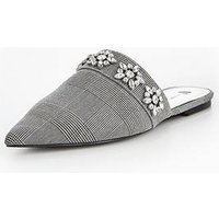 V by Very Boston Check Jewel Point Mule , Check, Size 8, Women