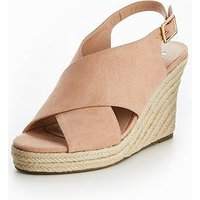 V by Very Plums Cross Strap Wedge Sandal - Blush, Blush, Size 8, Women