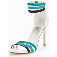 V by Very Trio Three Colour Minimal Heeled Sandal, White Multi, Size 8, Women