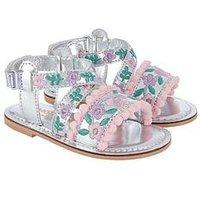 Monsoon Pastel Pom Pom Walker Sandal, Silver, Size 5