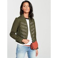 V by Very Embellished Jacket With Rib Trim - Khaki, Khaki, Size 12, Women