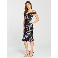 AX Paris Print Strappy Dress - Navy, Navy, Size 12, Women