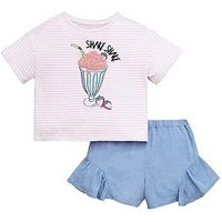 Mini V by Very Girls Ice Cream Boxy Top and Frill Short Set - Multi, Denim, Size Age: 4-5 Years, Women