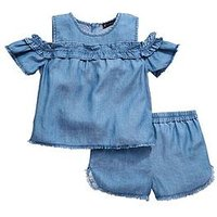 Mini V by Very Toddler Girls 2 Piece Cold Shoulder Top and Shorts Set - Denim, Denim, Size Age: 18-24 Months, Women