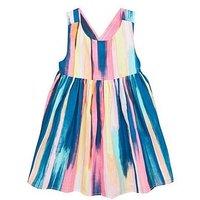 Mini V by Very Girls Cross Back Dress - Stripe, Multi, Size 3-4 Years, Women