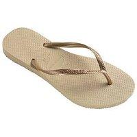 Havaianas Slim Flip Flop Sandal - Gold, Sand Grey/Light Golden, Size 3-4, Women