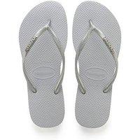 Havaianas Havaianas Slim Logo Metallic Flip Flop Sandal, Grey, Size 3-4, Women