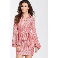Michelle Keegan Tie Waist Shirt Dress, Stripe, Size 14, Women