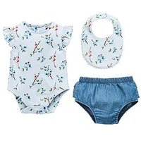 Mini V by Very Baby Girls Floral Bodysuit, Frill Knicker & Bib Set, Multi, Size Age(Months): 6-9 Months (20Lbs)