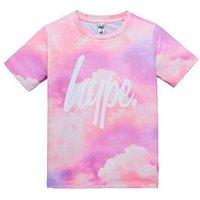 Hype Girls Short Sleeve Cloud Print T-shirt, Multi, Size Age: 7-8 Years, Women