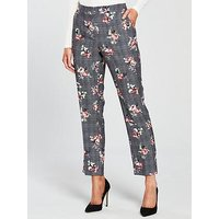 V by Very Petite Check & Floral Slim Leg Trouser, Check, Size 10, Women