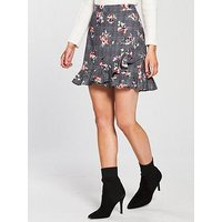 V by Very Petite Check & Floral Mini Skirt, Check, Size 14, Women