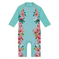 Baker by Ted Baker Girls Flamingo Floral Sunsafe, Aqua, Size Age: 3-4 Years, Women