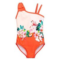 Baker by Ted Baker Girls Flamingo Floral Swimsuits, Pink, Size Age: 6-7 Years, Women