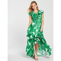 V By Very Petite Printed Frill Maxi Dress - Green/White