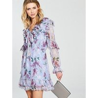 V by Very Printed Ruffled Tie Front Dress - Lilac , Print, Size 14, Women