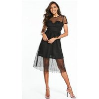 Lost Ink Structured Bust Cup Fit And Flare Dress - Black, Black, Size 8, Women