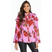 Lost Ink Floral Printed Frill Shirt, Multi, Size 8, Women