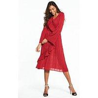 Lost Ink Asymmetric Wrap Dress - Coral, Coral, Size 8, Women