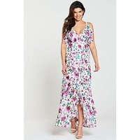 V by Very Printed Frill Maxi Dress, Print, Size 16, Women