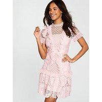 V by Very Premium Mixed Lace A-line Frill Dress - Blush, Blush, Size 14, Women