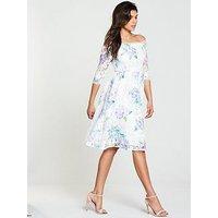V by Very Printed Lace Bardot Prom Dress - White, Print, Size 12, Women