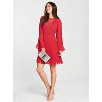 V by Very Pleated Lace Insert Swing Dress, Mint, Size 18, Women