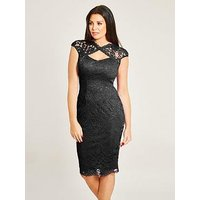 Jessica Wright Rylee Sleeveless Lace Midi Dress, Black, Size 8, Women