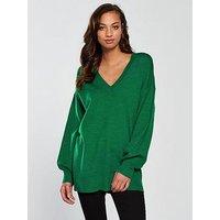 V by Very V-neck Blouson Sleeve Slouch Jumper - Green, Green, Size 10, Women