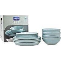 Product photograph showing Denby Intro 12-piece Dinner Set Ndash Pale Blue